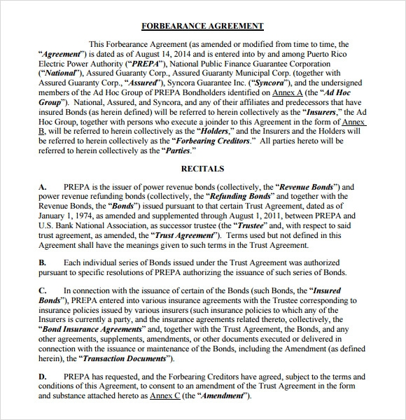 Sample Forbearance Agreement 7 Documents In Pdf Word