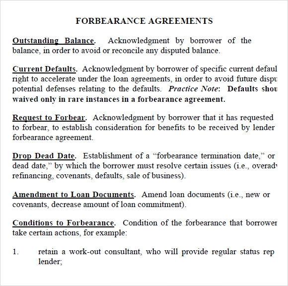 Sample Forbearance Agreement   Documents In Pdf Word