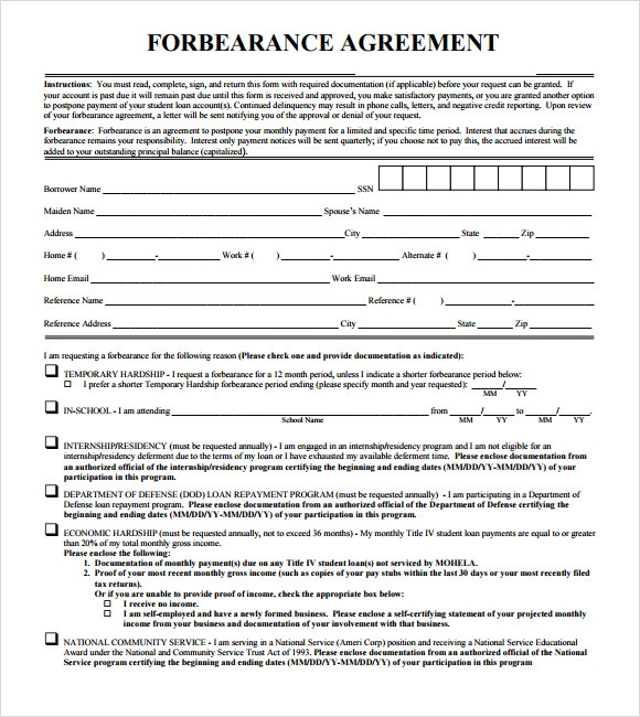 forbearance agreement sample