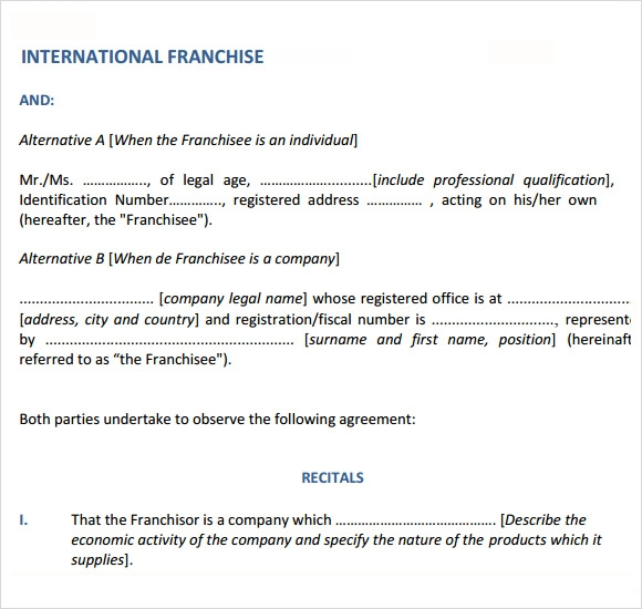 Sample Franchise Agreement 8 Documents In PDF Word – Sample Franchise Agreements