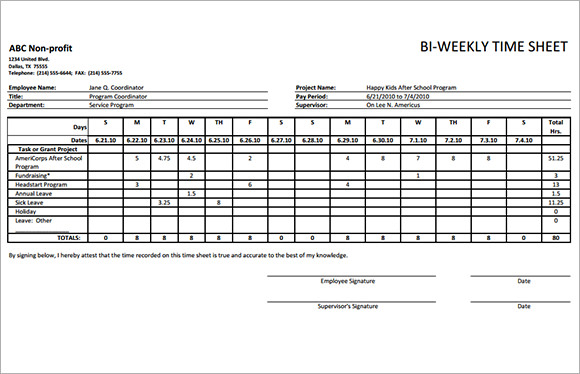 Biweekly Timesheet Template   Free Samples  Examples  Format
