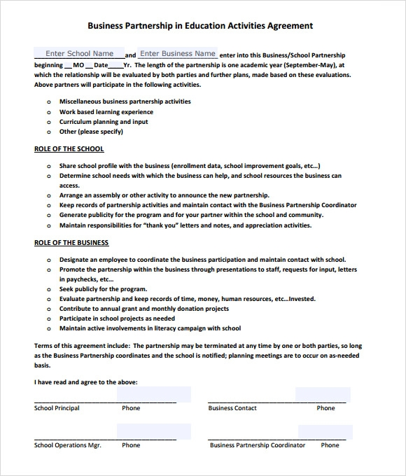Business partnership agreement template friedricerecipe Choice Image