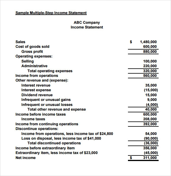 search results for �example of an income statement in a