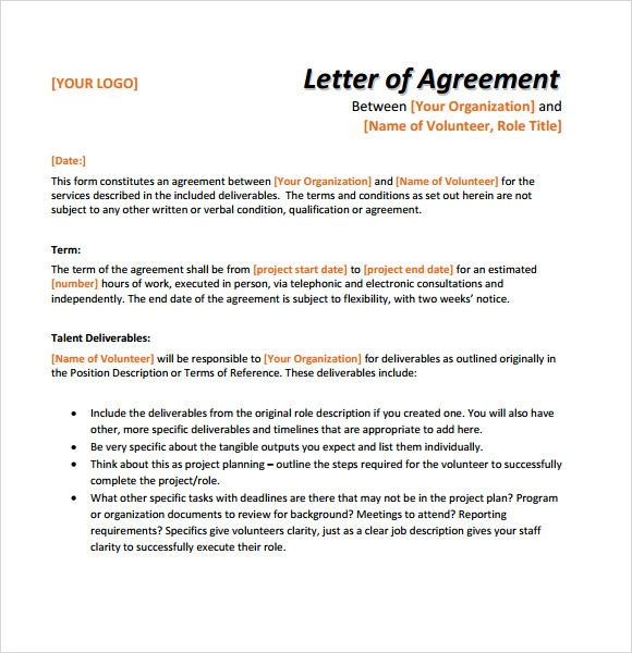 Image Gallery Letter Of Agreement Template
