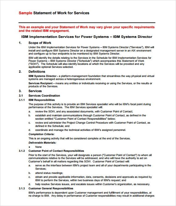 statement of works template - 10 statement of work samples sample templates