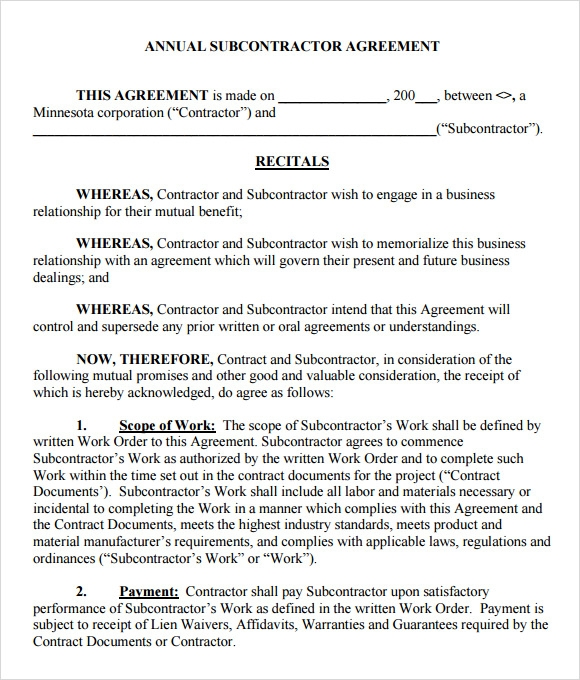 Subcontractor Agreement 7 Free Samples Examples Format