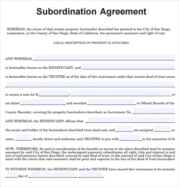 Sample Subordination Agreement   Example Format