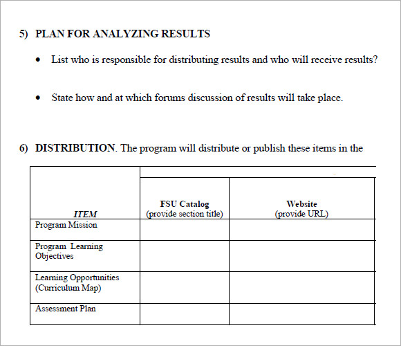 Sample Assessment Plan   Documents In Pdf