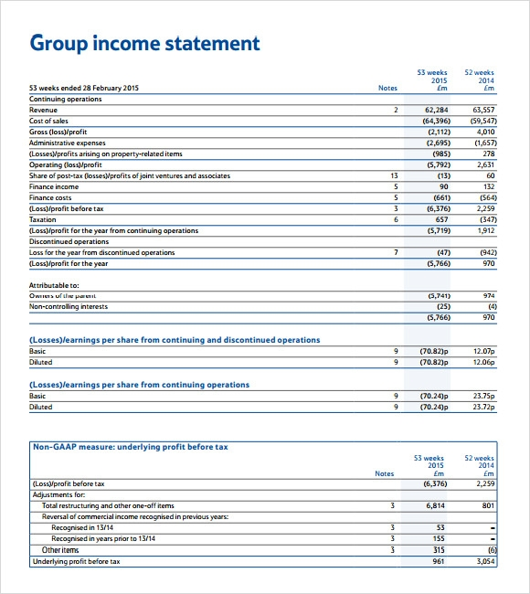 income statement business plan sample