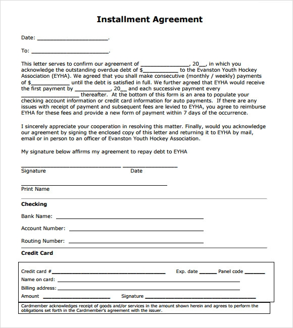 Installment Agreement – 7 Free Samples Examples Format