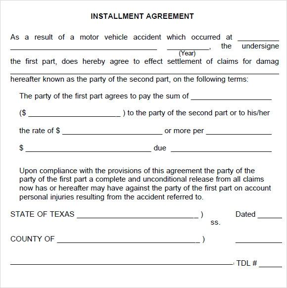 Sample Installment Agreement   Documents In Pdf Word