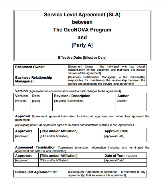Business Service Level Agreement  Service Level Agreement