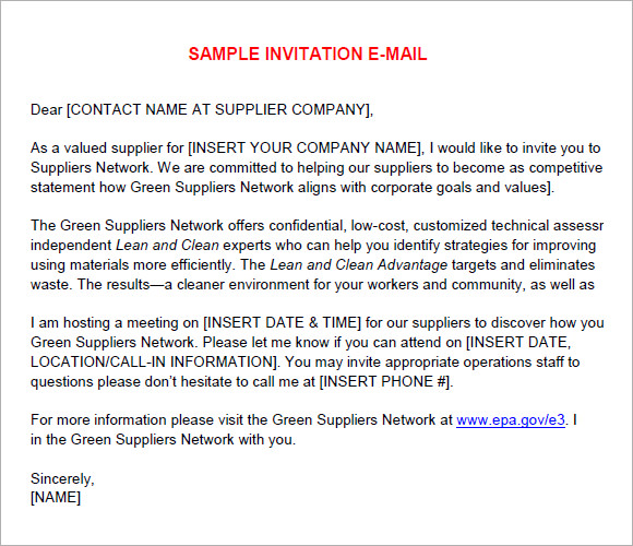 Sample email invitations 7 samples examples format email invitation size stopboris Choice Image