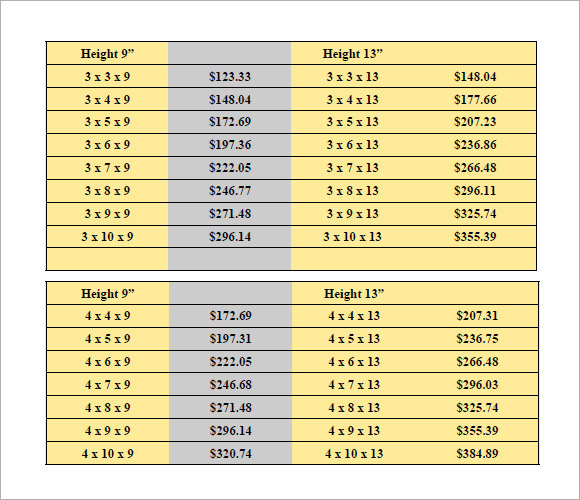 Sample Price List   Examples Format