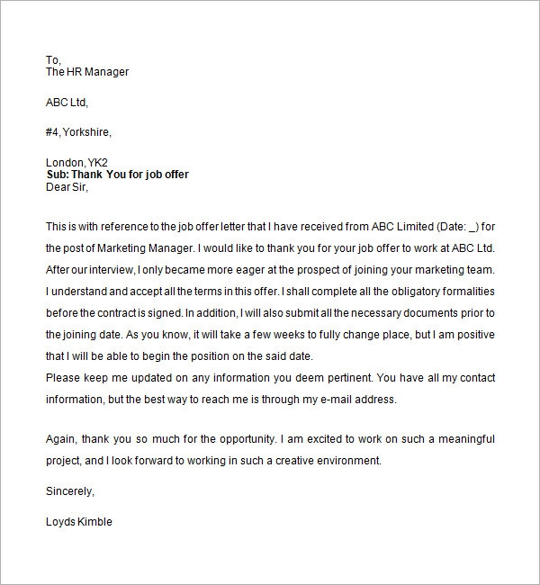 Accepting Job Offer Letter - All About Design Letter