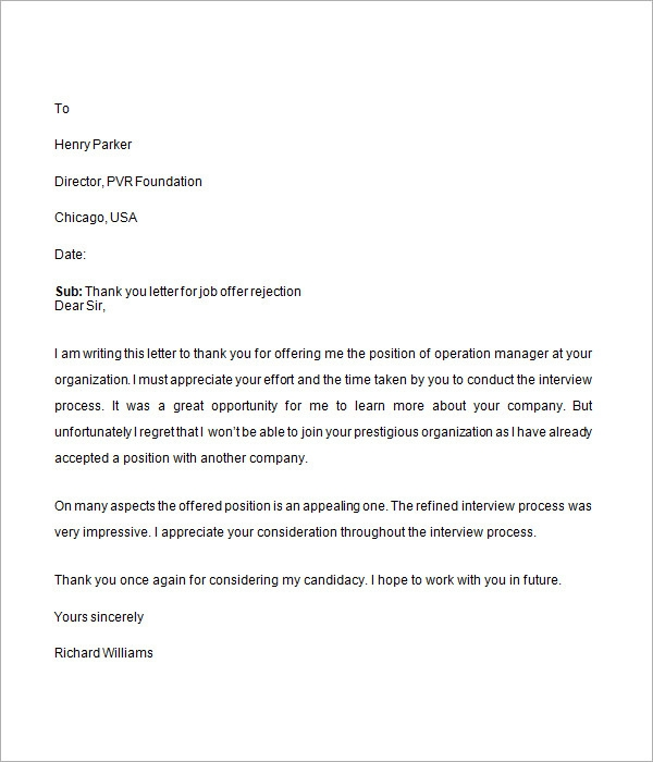 Job Rejection Letter     7  Free Samples Examples Format Sample 56FXXQOE