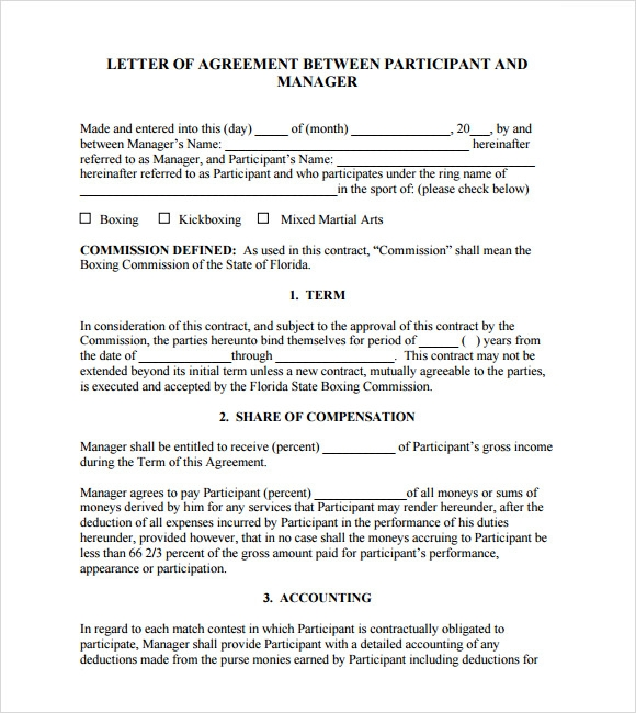 Letter Of Agreement – 8 Free Samples Examples Format