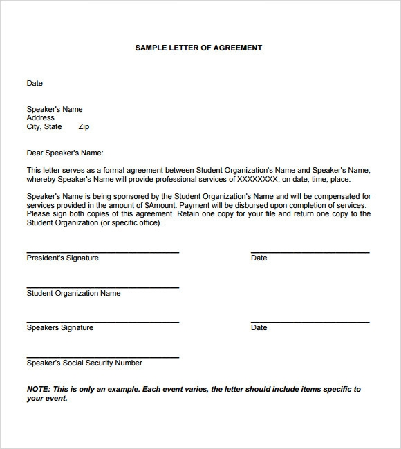 Sample Letter Of Agreement   Example Format