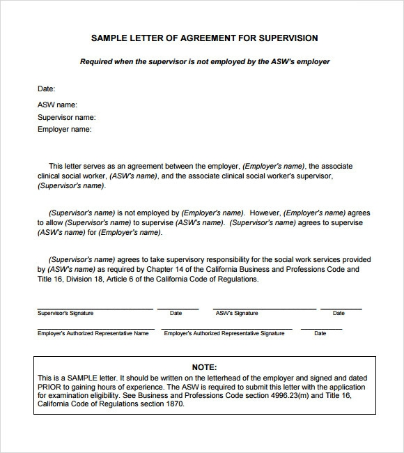 letter of agreement format