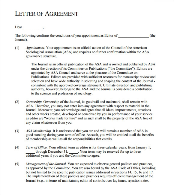 letter of agreement free pdf