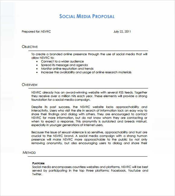 Social Media Job Search Social Media Marketing Proposal Template Pdf