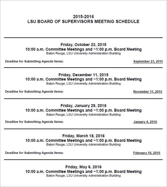 Captivating Agenda Calendar Format PDF