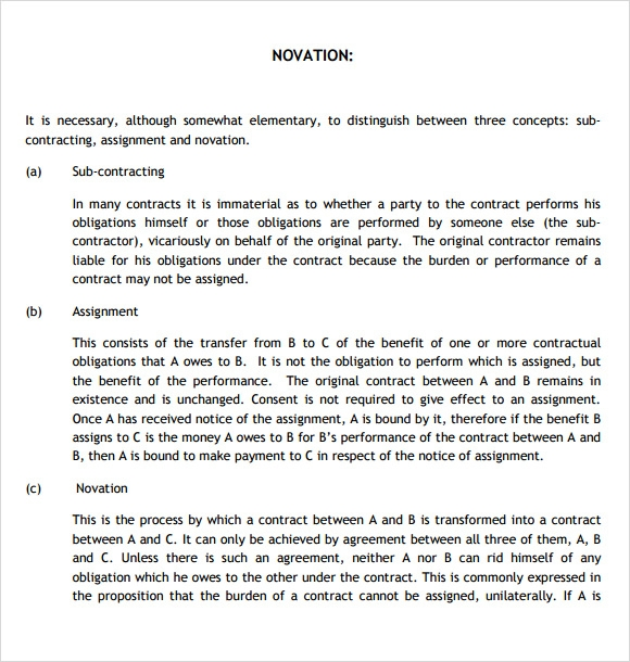 Sample Novation Agreement   Documents In Pdf Word