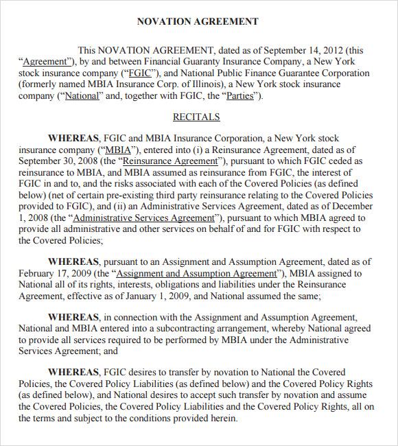 novation agreement