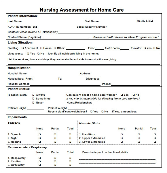 Sample Nursing Assessment 6 Documents in PDF Word – Nursing Assessment Template