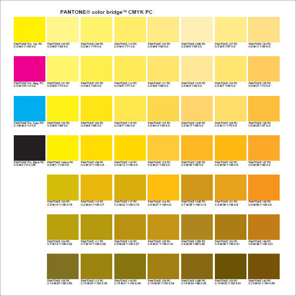 Sample Pantone Color Chart 6 Documents In Pdf Word