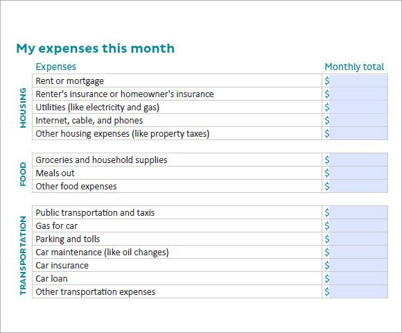 Make Budget Worksheet