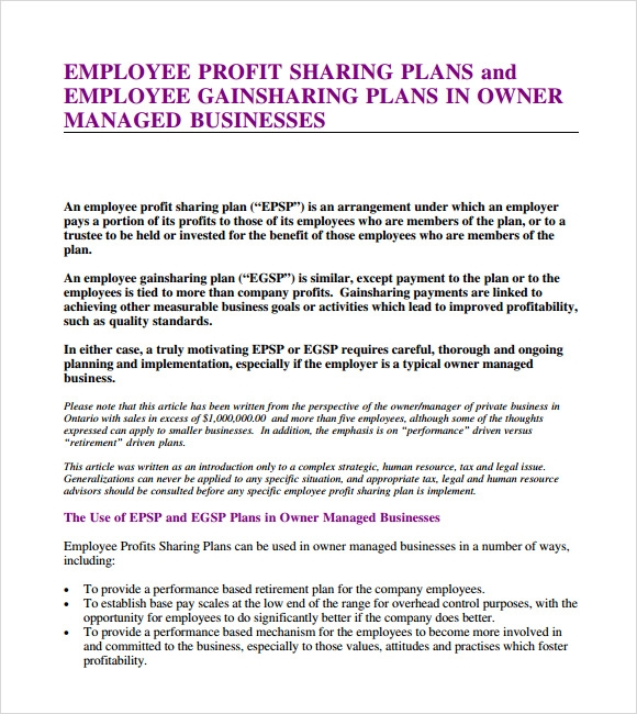 profit sharing plan template - profit sharing agreement 7 free samples examples
