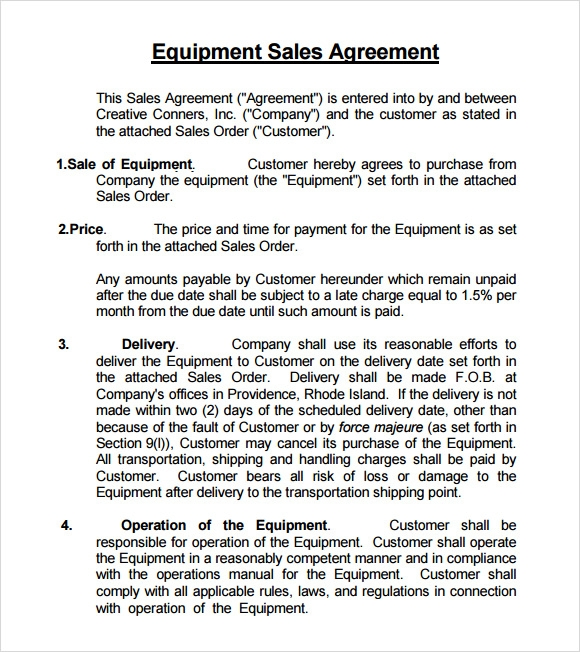 Sample Sales Agreement   Examples Format