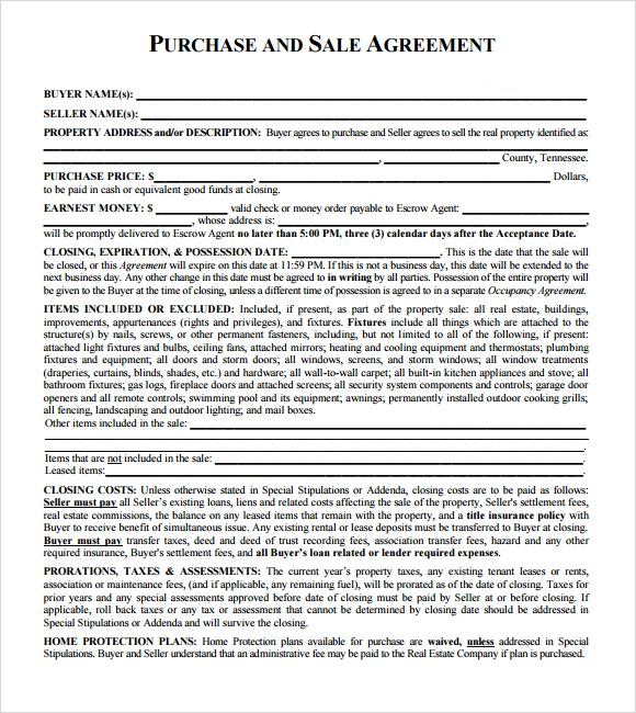 sales agreement form