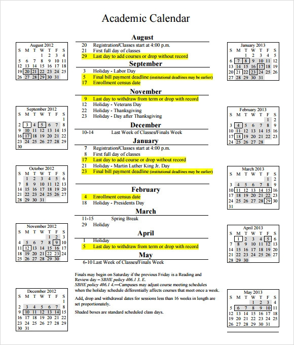 Sample Academic Calendar  CityEsporaCo