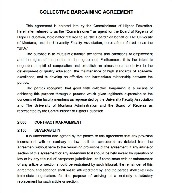 Sample Collective Bargaining Agreement   Documents In Pdf Word