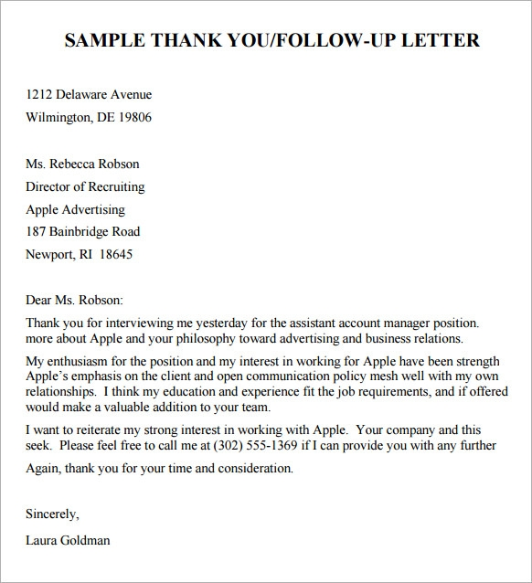 Sample Job-Seeker Thank You Letter that Follows Up Job