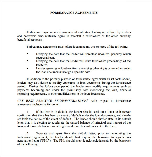 sample forbearance agreement