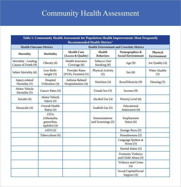 Sample Health Assessment   Documents In Pdf Word