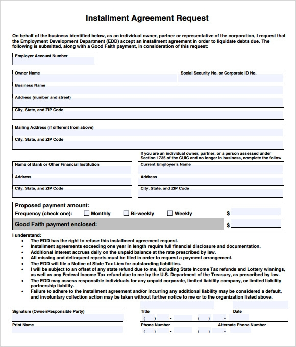 Installment Agreement 7 Free Samples Examples Format