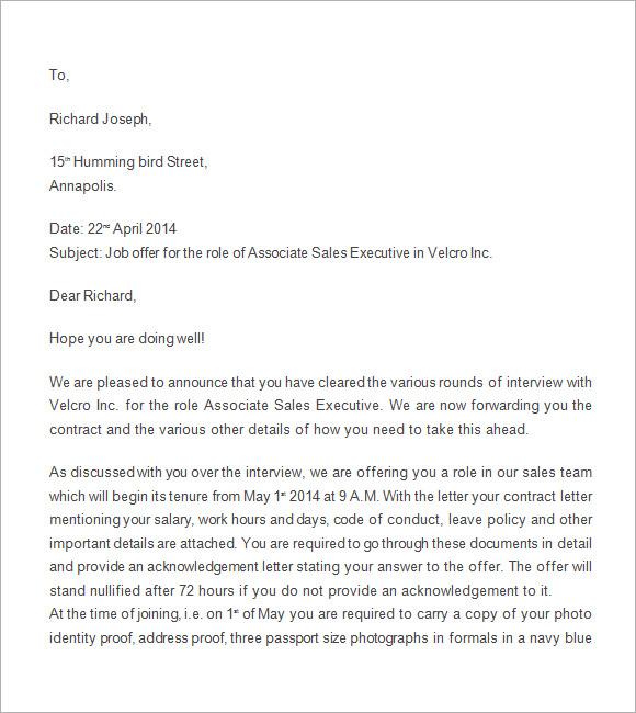sample job offer letter template