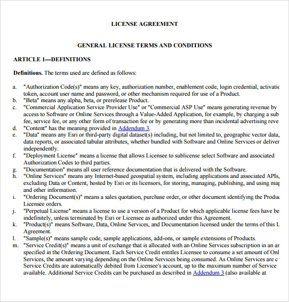 Sample Licensing Agreement   Documents In Pdf Word