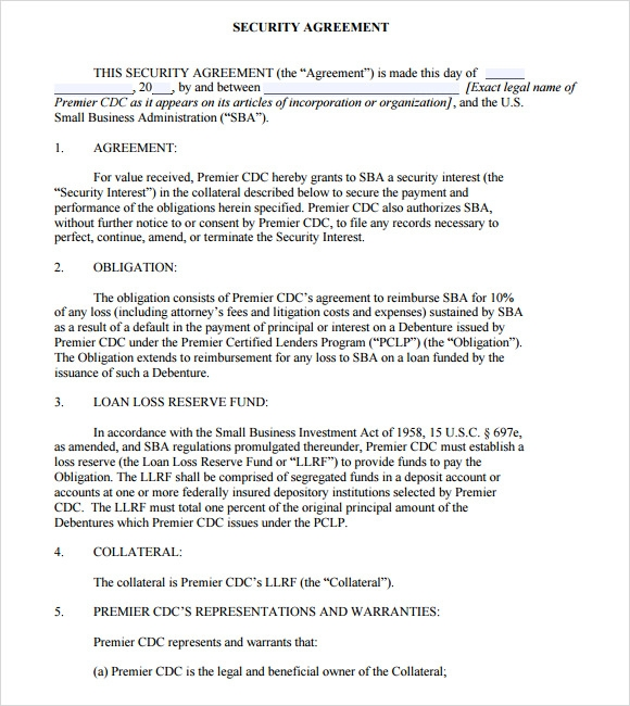 Sample Security Agreement 9 Example Format – Security Agreement