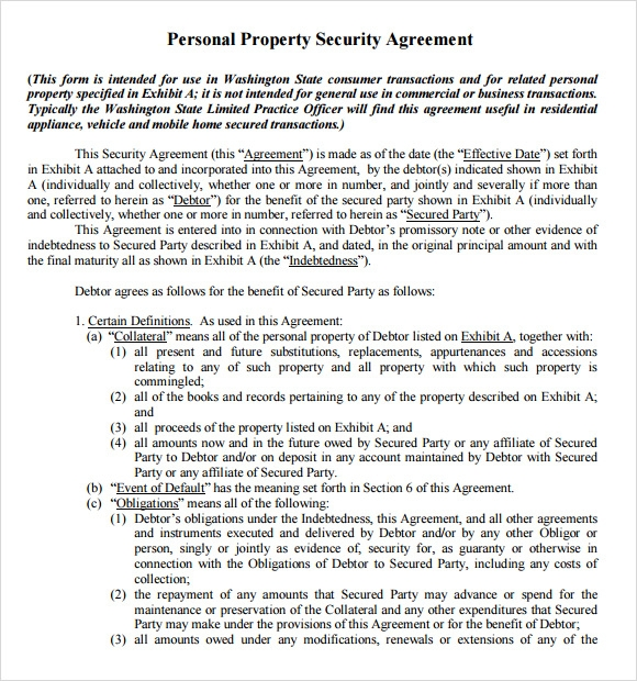 Sample Security Agreement   Example Format