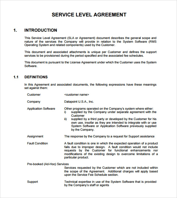 Service Level Agreement Template Amp Sample Form Biztreecom