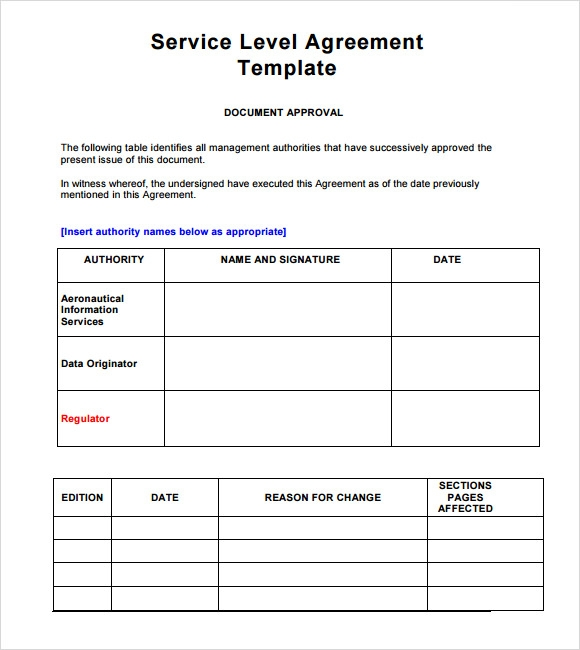 Sample Service Level Agreement Template Zesloka