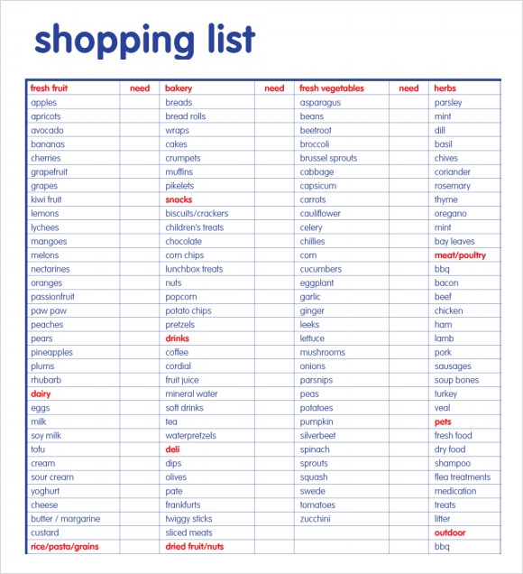 Sample Shopping List   Example Format