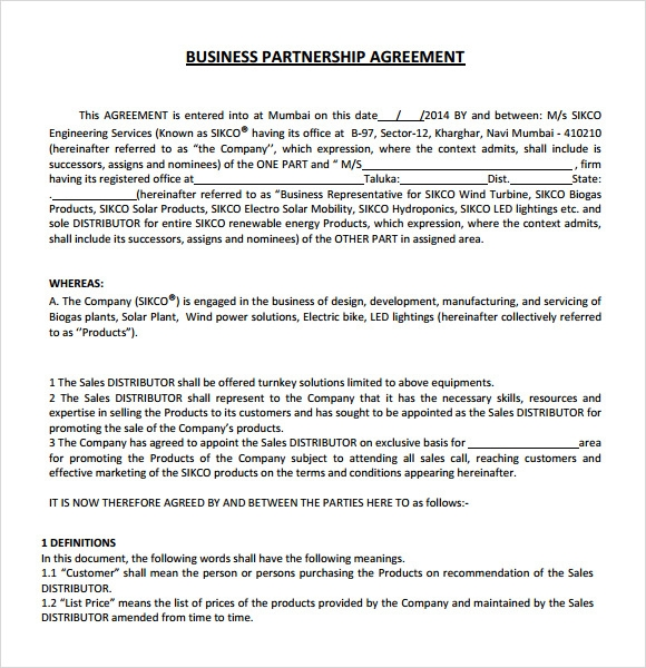 Business partnership agreement template free flashek Image collections