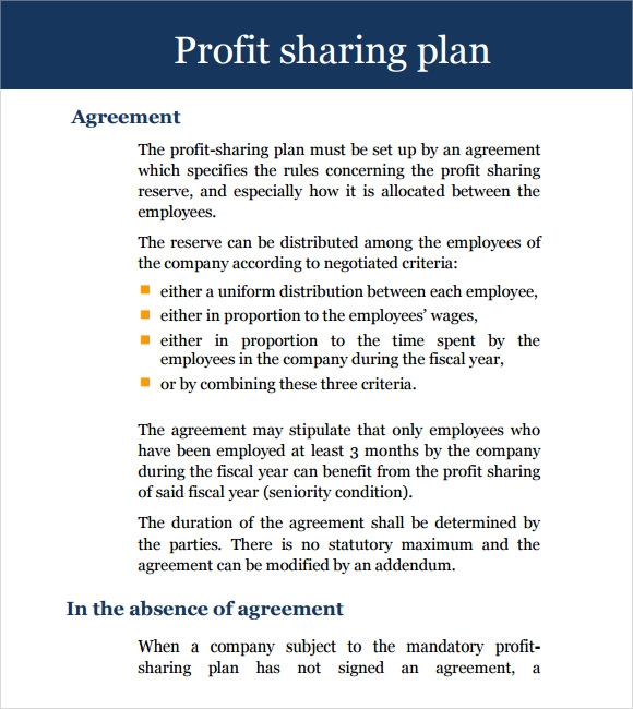 sample profit sharing agreement 7 examples format