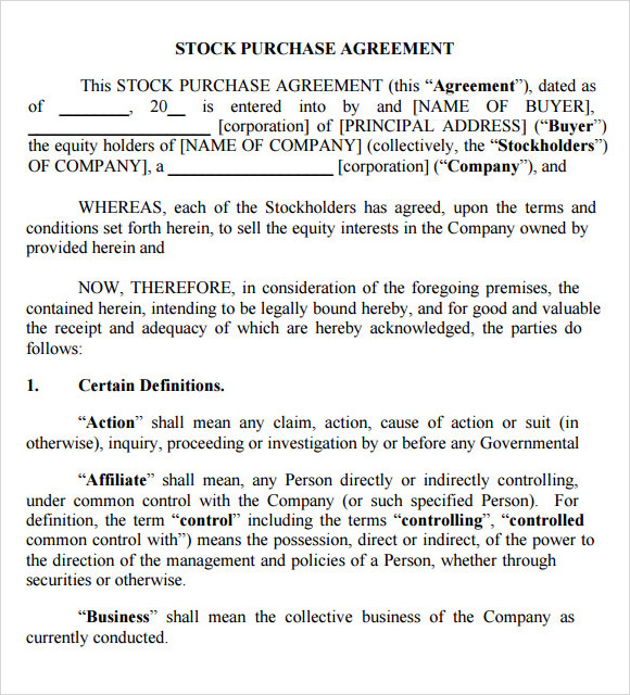 Sample Purchase Agreement 10 Examples Format – Stock Purchase Agreement Template